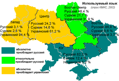 Ukraine crisis languages map