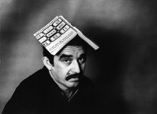 Gabriel Garcia Marquez with a copy of his book One Hundred Years of Solitude, 1975