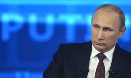 Vladimir Putin during the nationwide phone-in in Moscow.