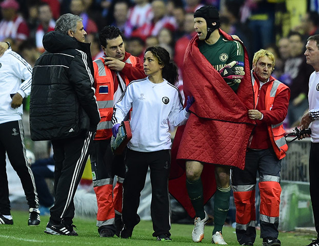 Atletico v chelsea: Petr Cech and Jose Mourino
