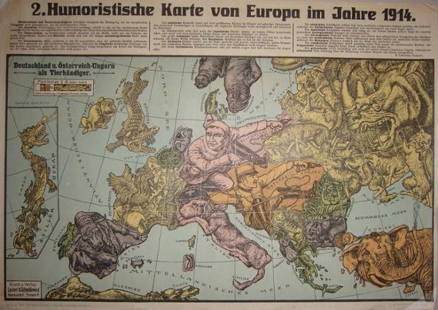 """Two maps by Karl Lehmann-Dumont, both published in Dresden in 1914, both called """"Humoristische Karte von Europa im Jahre 1914."""