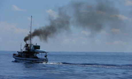 Fishing boat near Cocos Island National Park, Costa Rica, May 2014