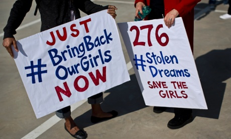 #BringBackOurGirls protest outside the Nigerian consulate in South Africa. Photograph: Ben Curtis/AP