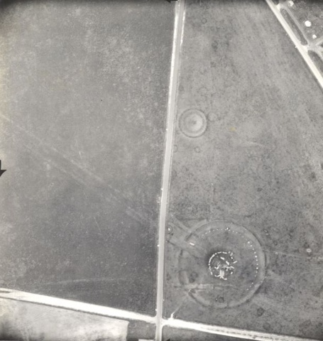 Aerial views of the Stonehenge Ruins, 1944.