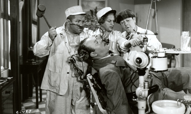 Comedy - A still from a film starring The Three Stooges, Larry, Moe and Curly, as dentists, from the 1930s
