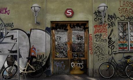 Graffiti at Norrebro station in Copenhagen.