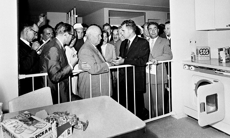 Soviet premier Nikita Khrushchev and US vice-president Richard Nixon in front of a kitchen display