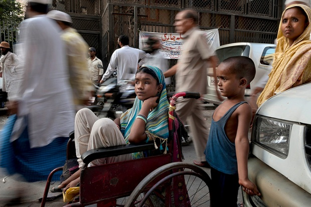 Hunupa Begum, 13, who has been blind for the past 10 years, lives in New Delhi, India. Begging is her family's only income - her mother and brother are too ill to work and her father is dead.