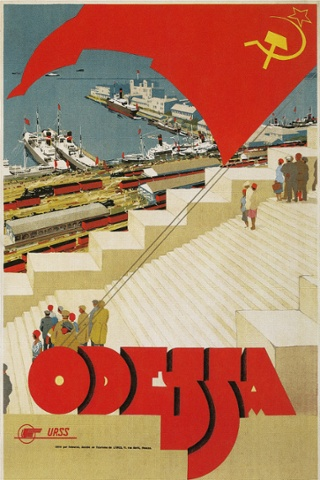 A tourism poster advertises Odessa, an important Ukrainian port Photograph: Found Image Press/Corbis