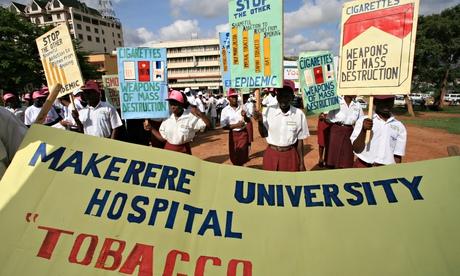 An anti-smoking demonstration in Uganda. Photograph: Corbis
