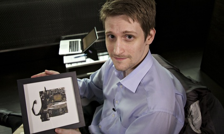 Edward Snowden with a framed piece of a computer that was destroyed in the Guardian basement at the request of the British government. Photograph: Alan Rusbridger