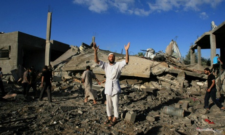 Houses destroyed in Rafah city, Gaza.