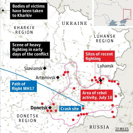MH17 crash map
