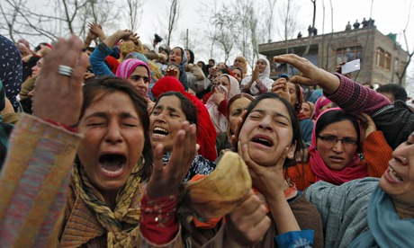 Kashmiri women at the funeral of a civilian killed by members of the Central Reserve Police Force (C