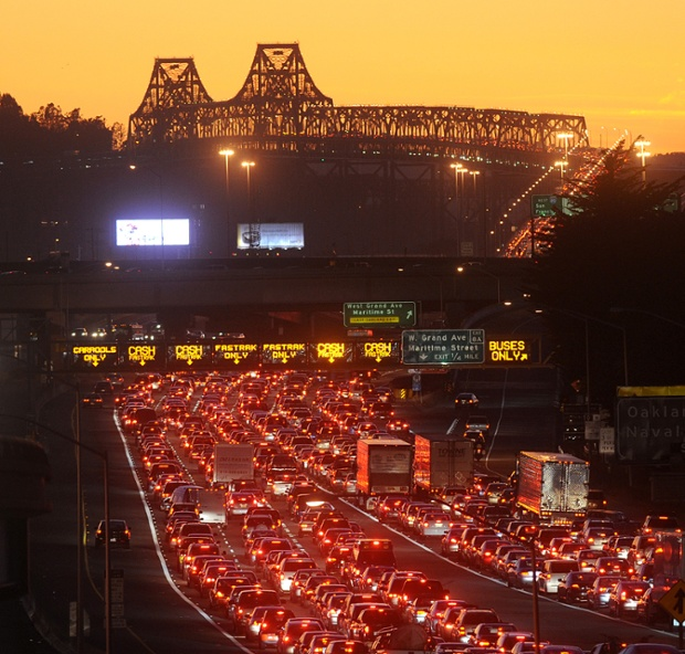 Traffic backed up on the San Francisco-Oakland Bay Bridge.