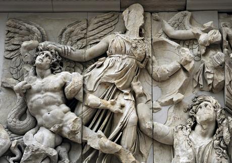 Pergamon Altar. Athena against the giant Alcyoneus.