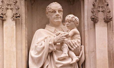 Statue of Archbishop Oscar Romero, assassinated in El Salvador in 1980, over the Great West Door of