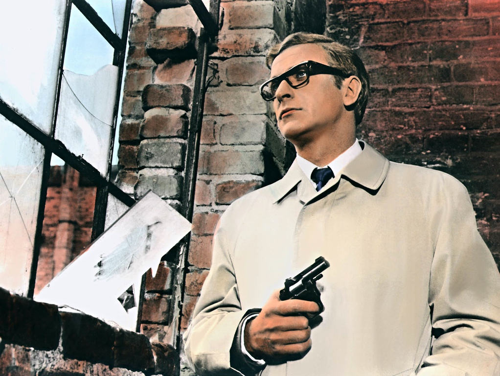 Michael Caine in the 1967 film Funeral in Berlin: ad-lib in a bar. Photograph: Sportsphoto/Allstar