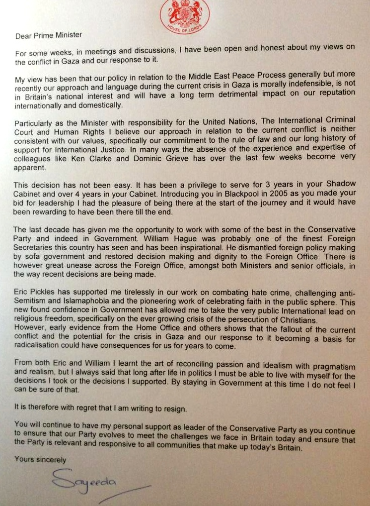 Lady Warsi resignation letter
