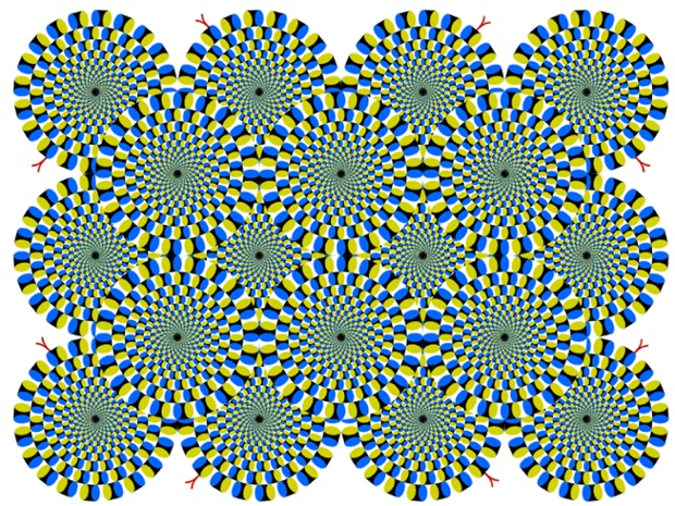 Rotating Snakes - circular snakes appear to rotate spontaneously, using the peripheral drift illusion
