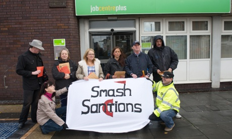 A demonstration against benefit sanctions, at Bootle job centre, Merseyside.