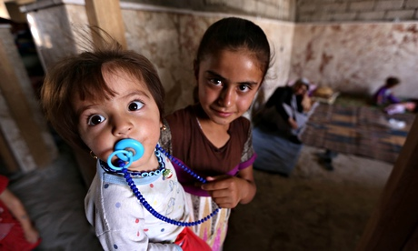 Iraqi Yazidi children who fled the viole