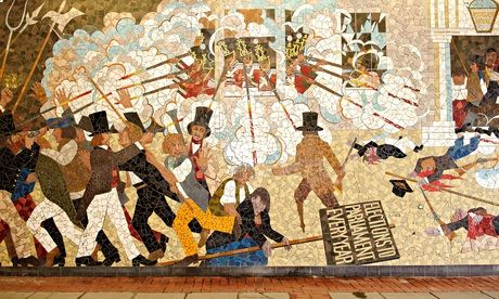 Mural depicting the 1839 Chartist uprising, Newport, south Wales, Britain - 22 Mar 2012