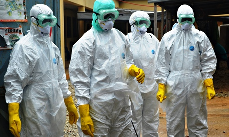 Red Cross health workers, Ebola centre, Guinea