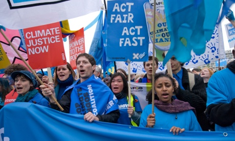 50,000 demand action on climate change at The Wave,   biggest ever UK climate change March in London. 5 December 2009.