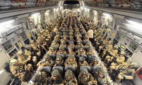US soldiers prepare to head to Afghanistan from  Manas airbase near Bishkek in 2011.