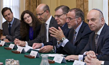 Vivian Wineman, right, president of the Board of Deputies of British Jews, with members of the Jewish Leadership Council during a meeting with David Cameron on 13 January