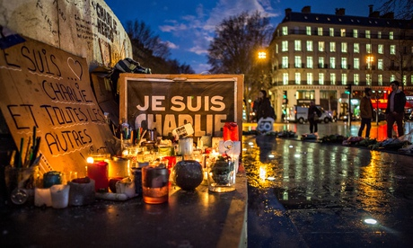 gathering in front of charlie hebdo and republic square. Paris. 2015/01/12