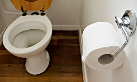 Toilet bowl and paper