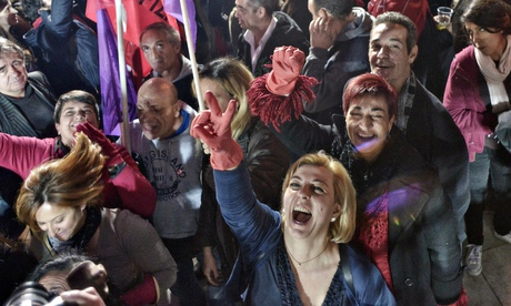 Syriza supporters cheer, 25 January 2015