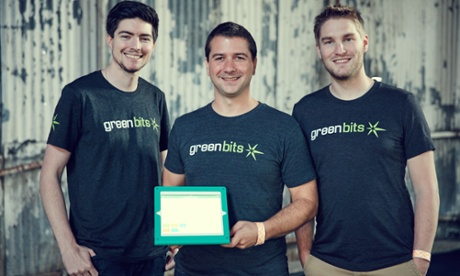 Andrew Katz, Ben Curren and Trade Robrock of cannabis tech startup Green Bits at TechCrunch Disrupt.