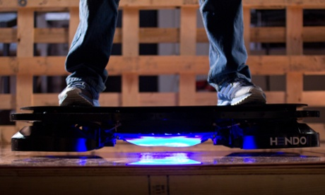 The Hendo hoverboard floats about one inch above the ground using electromagnets.