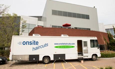 Hairdressing van at Google campus
