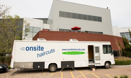 Hairdressing van at Google campus