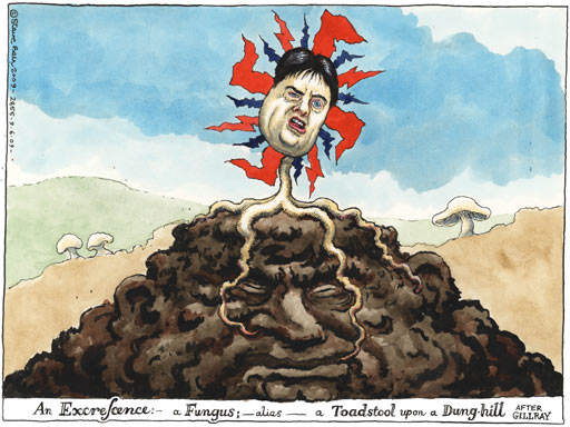 Steve Bell cartoon, on how the BNP nazis can grow because of New Labour