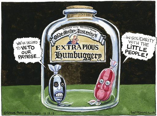 12.12.13: Steve Bell on Cameron, Miliband and the MPs proposed payrise