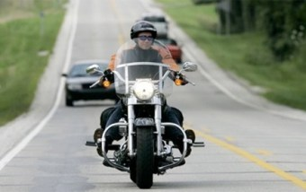 Indiana Governor Mitch Daniels riding his Harley Davidson
