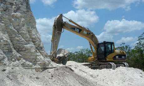 Destruction of the Nohmul Mayan pyramid in Belize