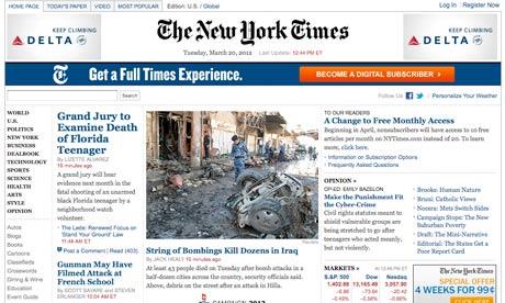 Figura 2 - homepage do The NY Times em março de 2012
