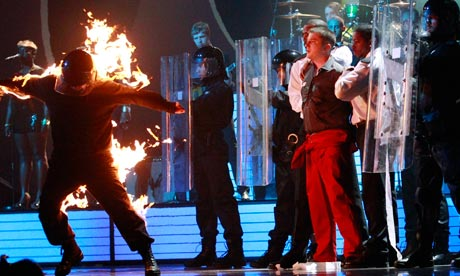 Plan B performs during the BRIT music awards at the O2 Arena in London