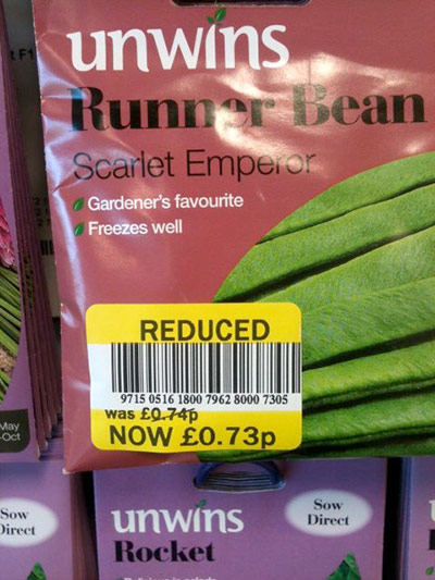 Daft Deals 051111: Runner bean deals in Tesco, Blairgowie, Perthshire
