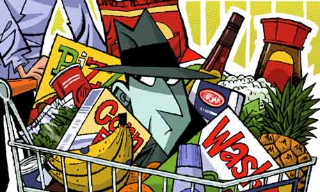 Illustration of a spy in a shopping trolley