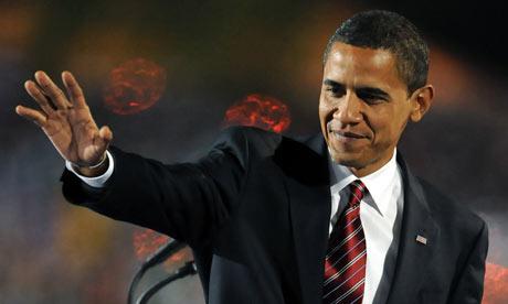 Barack Obama on stage in Grant Park, Chicago