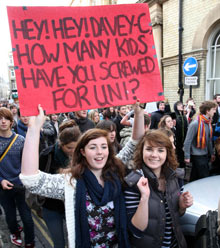 Students demonstrate tuition fees