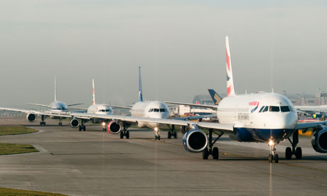 Planes queuing for takeoff at Heathrow airport. Photograph: David Pearson/Alamy