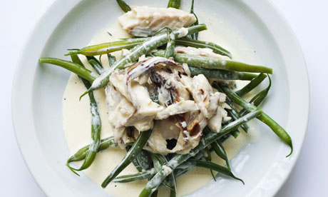 mackerel with cream and green beans